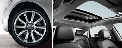 """奥迪A6L南方专属车型标配了""""超大升级版全景天窗""""以及""""5 V 型1 8 英寸铸铝车轮"""".jpg"""